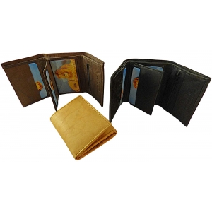 Pack of 12 pcs Trifold Cowhide Wallet LION10 (Brown Only)